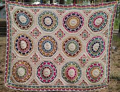 Ravelry: Summer Mosaic Afghan pattern by Julie Yeager as interpreted by elmerkitty. Plaid Crochet, Crochet Quilt, Crochet Home, Crochet Motif, Crochet Stitches, Knit Crochet, Crochet Square Blanket, Crochet Squares, Knitting Patterns