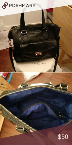 Cole Hann Leather Satchel Black with strap and dust bag , like brand new only use twice. Cole Haan Bags Satchels