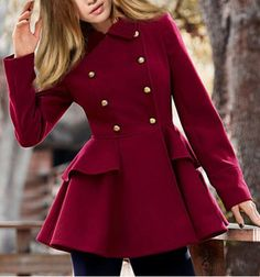 Elegant Peter Pan Collar Solid Color Buttoned Waist Flounce Wool Coat For Women Coats | RoseGal.com Mobile