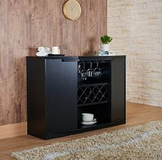 Wine BAR Buffet and Storage Cabinet with Center Glass and Wine Rack, Side Shelves, and Open Focal Point Shelf (Black)  http://www.mytimehome.com/wine-bar-buffet-and-storage-cabinet-with-center-glass-and-wine-rack-side-shelves-and-open-focal-point-shelf-black/
