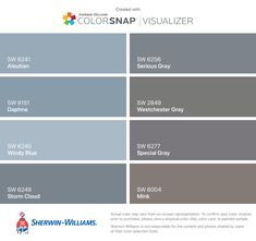 I found these colors with ColorSnap® Visualizer for iPhone by Sherwin-Williams: Aleutian (SW 6241), Daphne (SW 9151), Windy Blue (SW 6240), Storm Cloud (SW 6249), Serious Gray (SW 6256), Westchester Gray (SW 2849), Special Gray (SW 6277), Mink (SW 6004). Grayish Sherwin Williams, Exterior Paint Sherwin Williams, Intellectual Gray, Grey Exterior, Park Homes, Wall Colors, House Colors, Bedroom Colors, Paint Color App