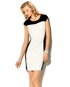 COLORBLOCK PONTE SHEAT DRESS - this type of dress is very slimming and works great on apple shape bodies.