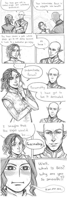This and his stories are what did my Inquisitor in. Originally I was going after Cullen, had a full back story and everything, then this nerd walks up and says that. From that moment on Cullen didn't have a chance my Inquisitor was nerding out with the Egghead. Indomitable Focus. Solas & Lavellan. Solavellan <3