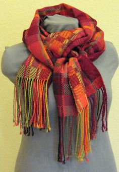 Checkered Scarf Red Burgundy Orange Green hand by Initasworks, $55.00 Nice use of block weave and colors.
