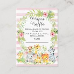 Girl Jungle Animals Baby Shower Diaper Raffle Enclosure Card Baby Shower Decorations For Boys, Baby Shower Invites For Girl, Baby Shower Invitations, Baby Shower Diapers, Baby Boy Shower, Baby Shower Gifts, Baby Girl Elephant, Elephant Gifts, Diaper Raffle