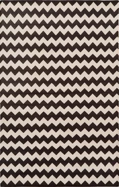 Black and White Zig Zag cotton carpet by Madeline Weinrib.