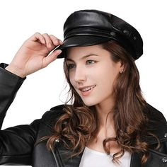 c5a10d20a98ce Womens Newsboy Cap Baker Berets Fisherman Conductor Greek Hat Sailor  Fiddler Winter PU Leather Casual Fashion