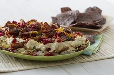 In a mixing bowl, add mascarpone and maple syrup, whisk until well combined and set aside. In a food processor, combine cream cheese and hazelnuts, process until smooth. In a serving dish, layer ingredients in this order: Hazelnut/cream cheese mixture, figs, almonds, mascarpone/maple syrup mixture, dates, pomegranate seeds, sage and zest. Serve with Food Should Taste Good