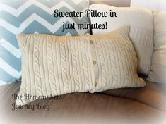 I took one sweater and made 4 crafts! This was craft number 2 the fast no sew throw pillow! I am having so much fun sharing with you the One Sweater 4 Crafts Se…