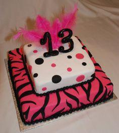 13th birthday zebra/polka dot cake