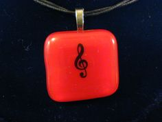Red Music Note Fused Glass Pendant//Handmade in USA//Treble Clef//Made in USA//Treble Clef by kenbass on Etsy