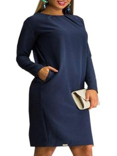 Plain Trendy Round Neck Plus Size Midi Dress #ClothingOnline #PlusSizeWomensClothing #CheapClothing #FashionClothing #womenswear #sexydress #womensdress #womenfashioncasual #womensfashionforwork #fashion #womensfashionwinter