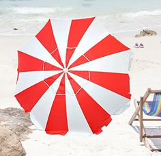 36eef2b27264 6.5 ft Beach Umbrella UPF100 Fiberglass Ribs w/ Air Vent & Aluminum  Pole https