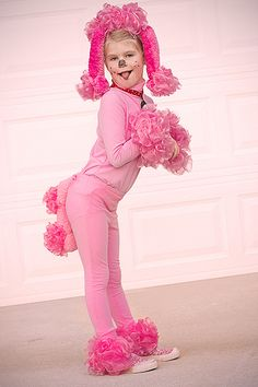 Pink poodle costume - made out of pink bath scrubbies.
