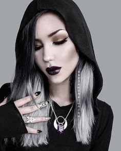 """I love how well this necklace goes with the lipstick  Necklace: @openthecellardoor ▪️Lipstick: @necromancycosmetica in """"Lydia"""" ▪️ Rings: @rogueandwolf ▪️Dress: @killstarco ▪️Contour: @lunatick_cosmetic_labs ▪️"""