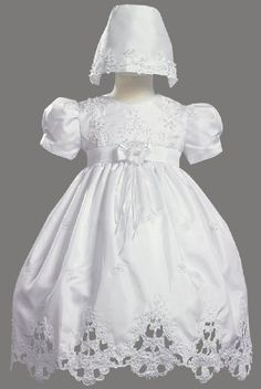 White Shantung Christening Baptism Dress with Cutwork Accents and Bonnet $67.95 - $68.95