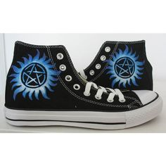 supernatural/blue/custom/hand painted /canvas//converse/ gift/MEN... ($55) ❤ liked on Polyvore featuring mens and men's shoes