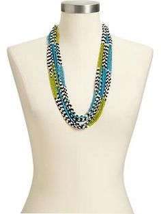 Women's Multi-Colored Seed-Bead Necklaces | Old Navy Goes with white shirt dress at old navy