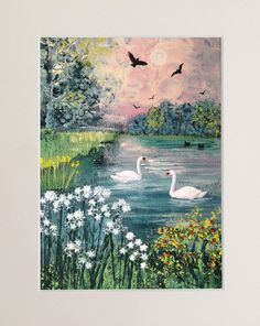 Swan Lake mounted limited edition giclee print by JoGrundyArtist