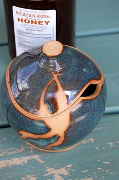 Sugar Bowl / Honey Jar in Slate Blue and Rust- Made to Order