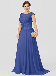 Plus Size Princess Illusion Neckline Floor Length Sweep / Brush Train Chiffon Beaded Lace Mother of the Bride Dress with Beading by LAN TING… Mother Of Bride Outfits, Mother Of The Bride Gown, Mother Of Groom Dresses, Mother Of The Bride Dresses Plus Size, Evening Dresses Plus Size, Evening Gowns, Plus Size Dresses, African Fashion Dresses, African Dress