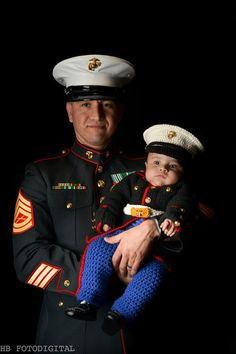Marine Corps - Marine Costume - usmc - Marine Corps Baby - usmc dress blues - usmc uniform - marine corps clothing Hobbyist License 21512,  Here is a stunning little United States Marine Corps dress blues outfit for you littlest marine. Wont daddy or mommy just love this.  The jacket has 16 Marine buttons. The gold shaded buckle has globe and anchor emblem and and fastens in the back with two tiny buttons. The color hat two tiny globe and anchor tie tacks and the color fastens with a hook…