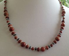 Goldstone Hematite Sterling Silver Necklace N13 by WindsweptGlass