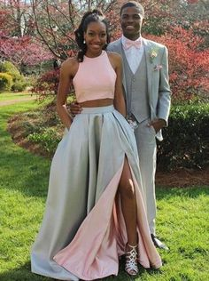 chic 2 pieces prom dresses, simple halter evening party gowns, fancy high quality party dresses,MB 234