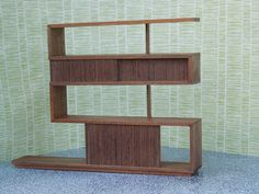 Modern Miniature Z Shelving in walnut 1:12 scale