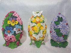 Поделка изделие Пасха Квиллинг Квиллинговые яйца Бумажные полосы фото 1