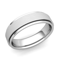 Park Avenue Wedding Band in 14k Gold Brushed Finish Comfort Fit Ring, 6mm. This brushed matte finish wedding band for men at My Love Wedding Ring is crafted in a 6mm 14k gold band with rounded inside edges for comfort fit. Simple and elegant, a perfect wedding ring for women and men.