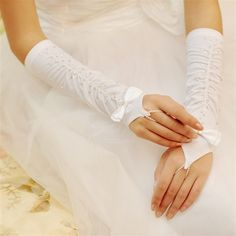 Herself Satin Fingerless Bowknot With Rhinestone Ruched Elbow Length Bridal Wedding Gloves - DinoDirect.com