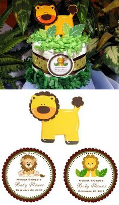 lion king baby shower ideas | Baby Shower Diaper Cake Centerpiece Baby Lion Jungle Safari