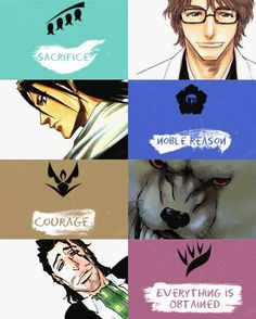 Sacrifice- division captain/traitor to seireitei, Sousuke Aizen. Noble Reason- division captain/head of Kuchiki clan, Byakuya Kuchiki. Everything is Obtained- division captain, Shunsui Kyoraku. Sad Anime, Me Me Me Anime, Anime Art, Bleach Art, Bleach Manga, Aho Girl, Departed Soul, Tsurezure Children, Bleach Characters