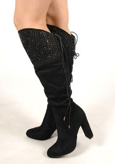"""Add some sparkle to your life with our knee high; """"Faux Suede Studded Knee High Boots"""" available in black and grey  Shop: http://www.revuk.com/product/faux-suede-studded-knee-high-boots/"""