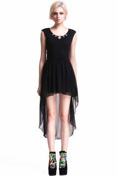 ROMWE | Leopard Embellished Shoulder Pads Black Dress, The Latest Street Fashion  #RowmePartyDress