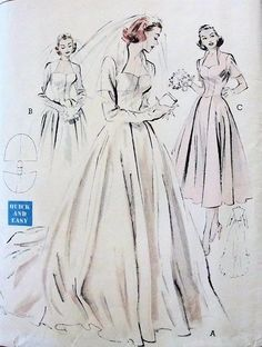 1950s WEDDING GOWN BRIDAL DRESS PATTERN PORTRAIT NECKLINE,  STAND UP COLLAR, FULL SKIRTED BUTTERICK 6337