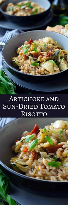 Artichoke and sun-dried tomato risotto is a delicious and easy vegan risotto recipe. Bursting with the flavours of the Mediterranean, this risotto recipe will appeal to vegetarians and non-vegetarians(Italian Recipes Vegetarian) Risotto Recipes, Pasta Recipes, Diet Recipes, Cooking Recipes, Healthy Recipes, Cooking Risotto, Diabetic Recipes, Le Diner, Mediterranean Recipes