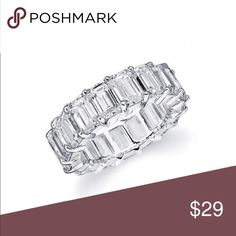 TIMELESS GLAMOUR NEW TIMELESS AND FULL OF GLAMOUR ETERNITY RING WITH EMERALD CUT AAAA CLEAR ELEMENTS SET IN 18K WHITE GOLD OVER BRASS! THIS IS AN ELEGANT RING SIZE 6 includes black velvet gift box SEVIL Jewelry Rings