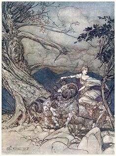 Fricka approaches in anger.  Arthur Rackham, from The Rhinegold & the Valkyrie, by Richard Wagner, London, New York, 1910.  (Source: archive.org)