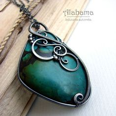 Turquoise wire wrapped silver necklace by Jolanta Pietrzak.