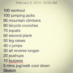 100 workout I made up for my off day since I missed Skala yesterday.