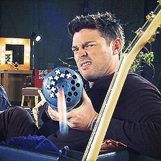 This gif makes me uncomfortable. (Karl Urban on Fox Lounge goofing with a big gun promoting Almost Human).
