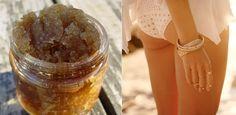Miodowy peeling cukrowy na cellulit na pupie i udach. Równie dobry, co kawowy