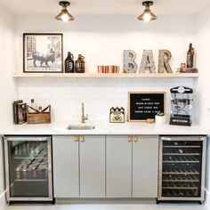 This adorable styled wet bar is perfect for a basement or living area to entertain guests and enjoy a glass of wine (or two!) Modern, Scandinavian Style has clean lines and neutral colors. Source by chatwithleahk Basement Makeover, Basement Renovations, Home Remodeling, Basement Living Rooms, Basement House, Wet Bar Basement, Basement Ceilings, Small Basement Bars, Basement Kitchenette