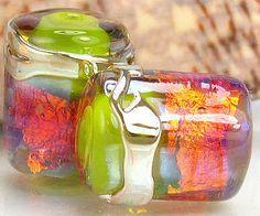 Handmade glass lampwork beads, barrel tube, made to order