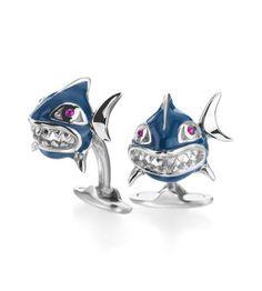 Cufflinks Inc - Handcrafted Italian Shark Cufflinks