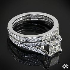 """Princess wedding delights,  """"Katie Pave"""" Diamond Engagement Ring combines timeless beauty with a modern design. Gleaming with 52 A CUT ABOVE® Hearts and Arrows Diamond Melee"""