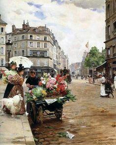 Louis Marie de Schryver (French artist, 1862-1942) - Selling Flowers Elysee
