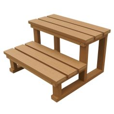 Spa World Two-Tier Steps Natural Finish, durable synthetic construction, without the hassle of wooden steps. http://spastore.com.au/two-tier-spa-steps-natural-finish/ #pool #spa #spapool #swimspa